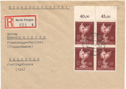 Germany 1943 Grossdeutches Reich- Registered Letter Sent From Markt Pongau On 10/31/1943 To Salzburg - Brieven En Documenten