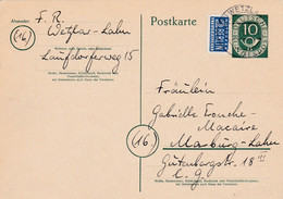 Allemagne - Postkarte De Wetzlar Pour Marbürg-an-der-Lahn - 26 Mars 1953 - Préaf. 10p YT 14 + Notopfer Berlin - 1 CAD - Cartes Postales - Oblitérées
