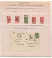 Fine Barbe - Page De Collection + Cachet De Boite Postale Privée (losange) Sur 5 TP Détachés + Une Carte Postale - 1893-1900 Thin Beard