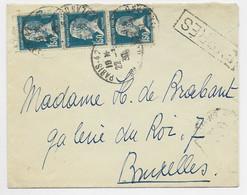 PASTEUR 1FR50 BANDE DE 3 LETTRE PARIS 22.3.1930 POUR BRUXELLES AU TARIF - 1922-26 Pasteur