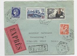 N° 496 RARE +N°435+ 375A+ 2FR 50 CARCASSONNE LETTRE EXPRES C. HEX PERLE MARTEL DE JANVILLE 11.10.41 AU TARIF 2EME - 1921-1960: Modern Period