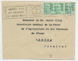 GANDON 5FR VERTX3 LETTRE PARIS 51 9.6.1950 POUR VERONA ITALIE AU TARIF SPECIAL - 1945-54 Marianna Di Gandon