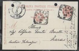 STORIA POSTALE REGNO - ANNULLO TONDO RIQUADRATO PESARO 18.8.1900  PER ZARA SU CARTOLINA UMBERTO (INT. 25/99) - Marcophilia