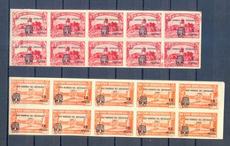 SPAIN 1930 2 BLOCKS OF 1O IMPERFORED OVERPRINT 1960  YEAR OF REFUGEES  MNH - 1951-60 Cartas