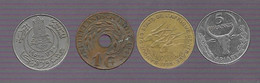 Lot De 4 Monnaies : Madagascar,  Afrique Centrale, Indes Néerlandaises, Tunisie (121) - Lots & Kiloware - Coins