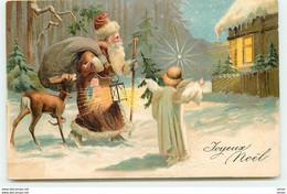 N°15922 - Carte Gaufrée - Joyeux Noël - Père Noël Et Ange Près D'une Maison - Altri