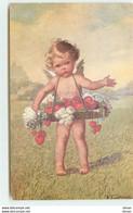 N°15903 - Fialkowska Wally - Ange Portant Un Panier Rempli De Fleurs Et De Coeurs - Fialkowska, Wally