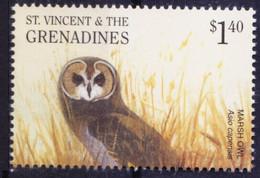 Marsh Owl, Birds Of Prey, St. Vincent & Grenadines 2001 MNH - Owls