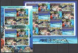 AA441 2009 GRENADA CARRIACOU FAUNA WWF MARINE LIFE LOBSTERS #4500-03 MICHEL 24 EURO SH+KB MNH - Nuevos