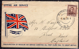 NEW ZEALAND NUOVA ZELANDA 1 8 1938  EMPIRE AIR SERVICE ILLUSTRATED KING GEORGE VI 1 1/2p COVER LETTERA LETTRE - Used Stamps
