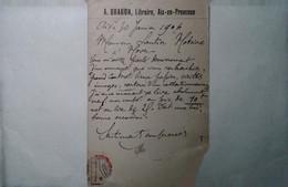 G 19 Lettre/carte Postale / Document Carte Postale      Entete Librairie  à Aix En Provence  1904 - 1877-1920: Période Semi Moderne