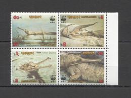 AA463 1990 BANGLADESH WWF REPTILES CROCODILES #323-26 MICHEL 1SET MNH - Nuevos