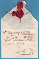 """14.8.1793 L Marque DE LIEGE + RECOMMANDE En Rouge Pour Lille + Rappel """"CHARGE"""". Seule Lettre Connue En Rouge - 1790-1794 (Austr. Revol. & Fr. Invas.)"""