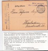 DDZ 973 - Carte En Feldpost BRUGGE 1915 Vers WIESBADEN - Boite De La Station Du TRAM à MIDDELKERKE - Army: German