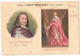 CHROMO PUBLICITAIRE PUBLICITE CHOCOLAT POULAIN ART PEINTURE MUSEE DU LOUVRE PHILIPPE DE CHAMPAIGNE PEINTRE RICHELIEU - Poulain