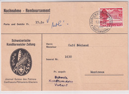 """302 Einzelfrankatur Auf Nachnahmekarte (Remboursement) """"Schweizerische Konditormeister Zeitung"""" USCP / SKMV - Covers & Documents"""
