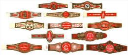 V19, OLD FORGOTTEN CUBAN BRANDS. 25 ORIGINALS CIGAR RINGS. UNUSED. - Anelli Da Sigari