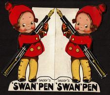 Daddy's SWAN Pen - Stylos Publicité Kiwi / Merle Blanc / Swan Junior / Swan Leverless - Illustr. Mabel Lucie Attwell - - Penne