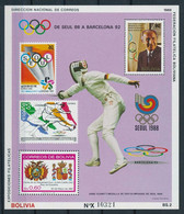 Bolivia 1988, 200th Olympic Games In Seoul And Barcellona, Fencing, Athletic, Coat Of Arm, BF - Verano 1988: Seúl