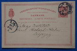 Y2  DANEMARK  BELLE CARTE PERFOREE  1897 POUR  LEIPZIG   + + AFFRANCHISSEMENT   INTERESSANT - Lettres & Documents