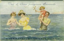 M. MORRIS SIGNED 1910s ADVERTISING POSTCARD - WOMEN & MAN & KID IN  SWIMSUIT - VINO DI CHINA SERRAVALLO TRIESTE (BG1575) - Andere Zeichner
