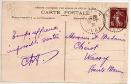 JURA    :   RAHON   Recette Distribution  1930 - Manual Postmarks