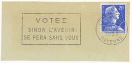 LAVAL - GARE. MAYENNE 1958 : VOTEZ SINON L'AVENIR ... - Fragment - - Mechanical Postmarks (Advertisement)