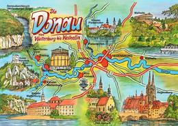 1 Map Of Germany * 1 Ansichtskarte Mit Der Landkarte - Die Donau Von Weltenburg Bis Walhalla * - Landkarten