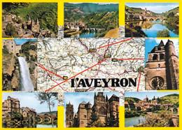 1 Map Of France * 1 Ansichtskarte Mit Der Landkarte - Département Aveyron Und Seine Wichtigsten Sehenswürdigkeiten * - Landkarten