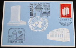 UNO GENF 1981 Mi-Nr. 99 Blaue Karte - Blue Card Mit Erinnerungsstempel UND SONDERSTEMPEL LURABA 1981 LUZERN - Storia Postale