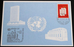 UNO GENF 1981 Mi-Nr. 104 Blaue Karte - Blue Card Mit Erinnerungsstempel JUBILA 81 BIEL - Storia Postale
