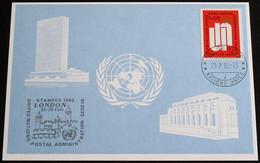 UNO GENF 1982 Mi-Nr. 107 Blaue Karte - Blue Card Mit Erinnerungsstempel STAMPEX 1982 LONDON - Lettres & Documents