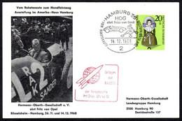 BRD GERMANY DEUTSCHLAND Cover Sent, 1968, Special Stamp Fritz Von Opel, Exhibition, Hermann Oberth Gesellschaft - Lettere