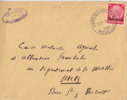 Lettre  Obl. Abreschviller Moselle (T 202) Le 18/10/40 Sur TP Lotringen 12pf Pour Metz - Alsace Lorraine