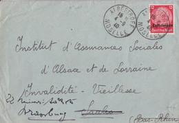 Lettre  Obl. Albestroff Moselle (T 201) Le 4/9/40 Sur TP Lotringen 12pf Pour Saales (redirigées Sur Strasbourg) - Alsace Lorraine