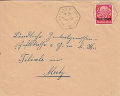 Lettre  Obl. Audviller Moselle (T 220) Le 3/4/41 Sur TP Lotringen 12pf Pour Metz - Alsace Lorraine
