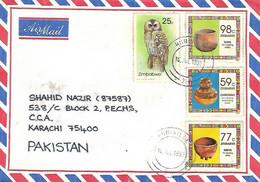 ZIMBABWE 1993 REGISTERED AIRMAIL COVER TO PAKISTAN. - Zimbabwe (1980-...)