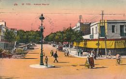 FES - FEZ (Maroc) - Avenue Maurial - Cpa Rare De 1944 - écrite En Arabe  - état Moyen  - 2 Scans - Fez