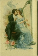 SAN MARCO SIGNED 1910s POSTCARD - COUPLE & HARP - N. 2056 (BG1601) - Andere Zeichner