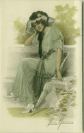 SAN MARCO SIGNED 1910s POSTCARD - WOMAN & UMBRELLA - N.2083 (BG1604) - Andere Zeichner