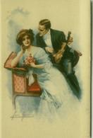 SAN MARCO SIGNED 1910s POSTCARD - COUPLE & VIOLIN - N.2056 (BG1614) - Andere Zeichner