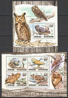 CA014 2016 CENTRAL AFRICA CENTRAFRICAINE FAUNA BIRDS OWLS LES CHOUETTES ET HIBOUX KB+BL MNH - Owls