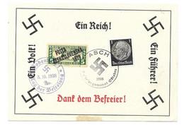 GEDENKBLATT  DEUTSCHES REICH -- BÖHMEN & MÄHREN 1938  SST ASCH U. BODENBACH - Bezetting 1938-45