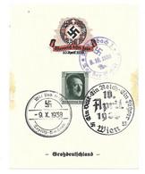 """GEDENKBLATT  DEUTSCHES REICH -- """" ÖSTERREICH KEHRT HEIM """"  MIT SST   WIEN, TEPLITZ  U. BODENBACH - Bezetting 1938-45"""