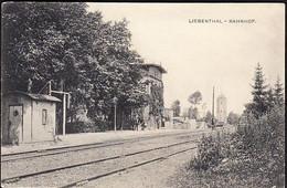 Germany LIEBENTHAL Now Lubomierz Poland Train Station Bahnhof Postcard Used In 1917? To Allenstein Olsztyn - Poland