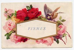 Marne 51. Bonjour De  Fismes Carte Postale Avec Oiseau Et Bouquet De Roses - Fismes