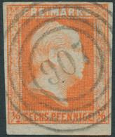 PREUSSEN 1850, Nr. 1 1/2 SGR/6 PF. ORANGE, VOLLR., NR-STPL 907 MAGDEBURG, Mi. 70,- - Prussia