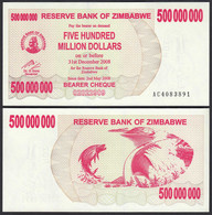 Simbabwe - Zimbabwe 500 Millionen Dollars 2008 Pick 60 UNC (1)    (27695 - Altri – Africa