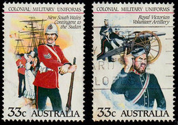 1985 Australia 2 X 33c Military Uniforms Used Stamps NSW Contingent To The Sudan & Royal Vic Volunteer Artillery - Used Stamps