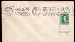 Argentina - 1945 - FDC - Matasello Especial - Bandeleta Parlante - Bernardino Rivadavia - A1RR2 - Gebruikt